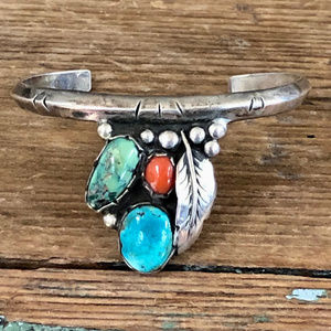 Navajo 925 Silver Cuff Bracelet Turquoise & Coral